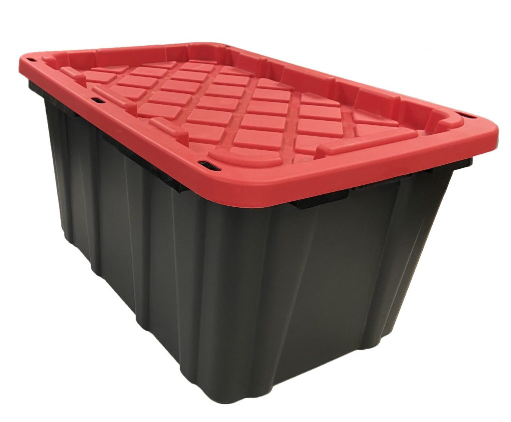 industrial polymer storage containers - 27 Gallon with Red Lid